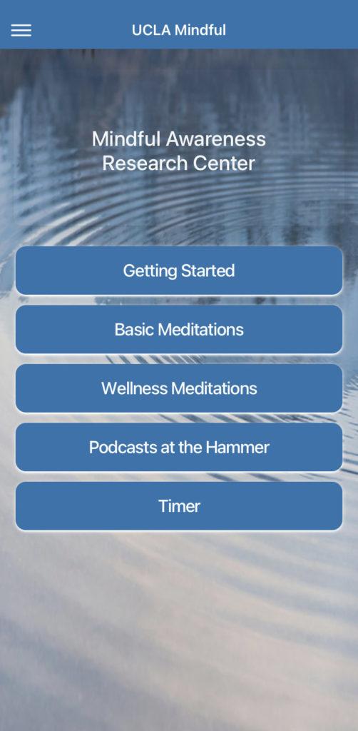 Screenshot aplikace UCLA Mindful