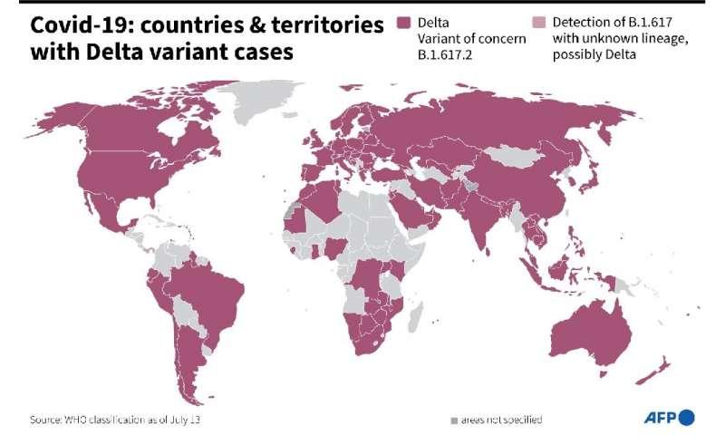 Karta prikazuje zemlje i teritorije u kojima je otkrivena Delta varijanta koronavirusa, prema WHO-u od srpnja