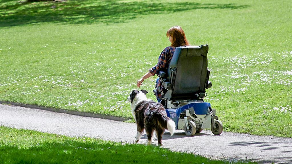 Αναπηρική γυναίκα που παίρνει σκύλο για βόλτα στο πάρκο