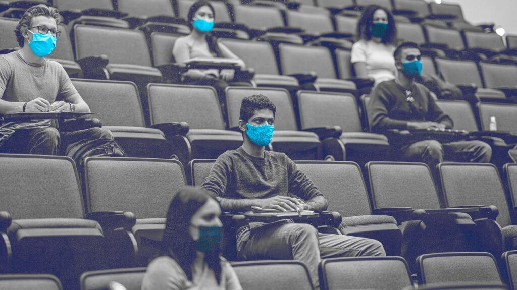 Studenten zaten fysiek op afstand in een collegezaal